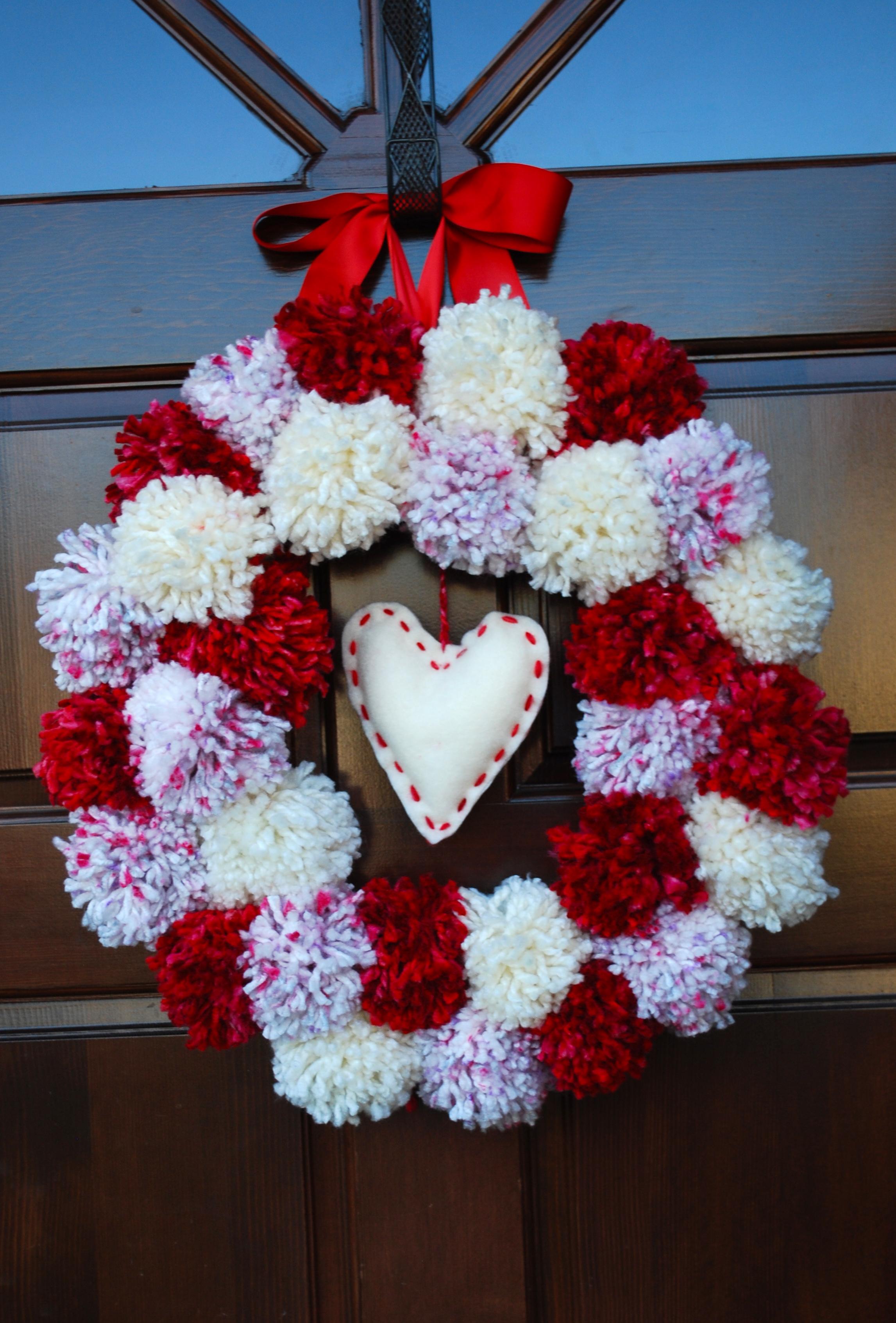 Valentines Pom Pom Wreath